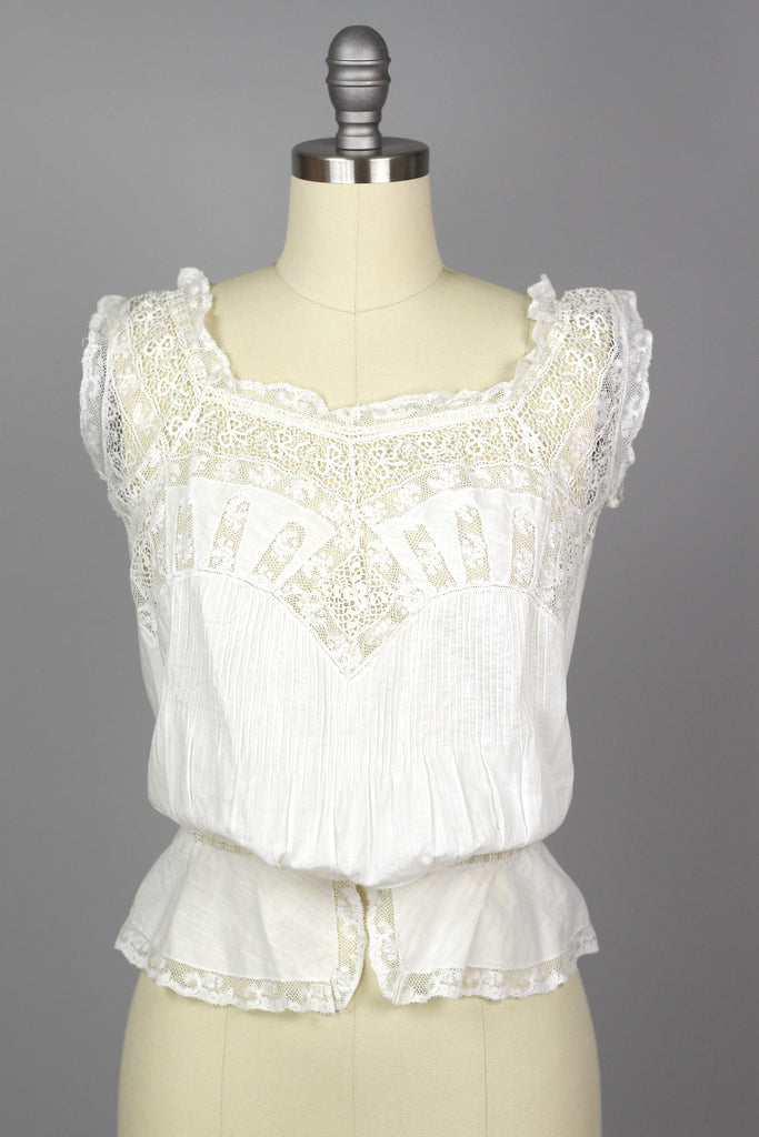 Victorian Antique Entirely Handmade White Lace Corset Cover Blouse
