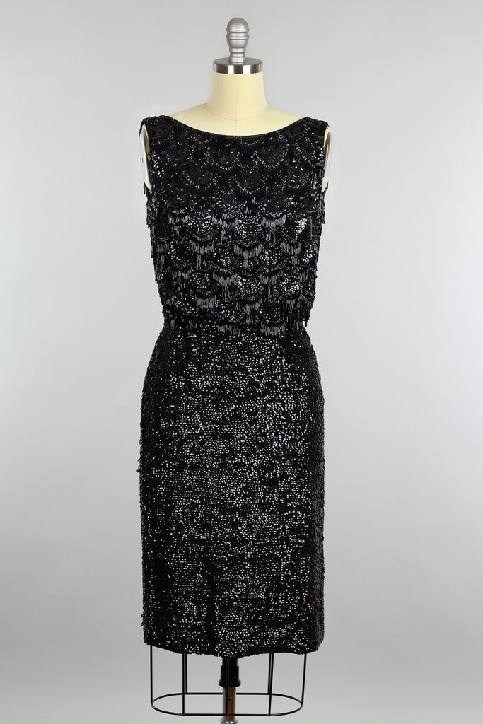 Stunning Vintage 1960s Hand Beaded Black Cocktail Dress