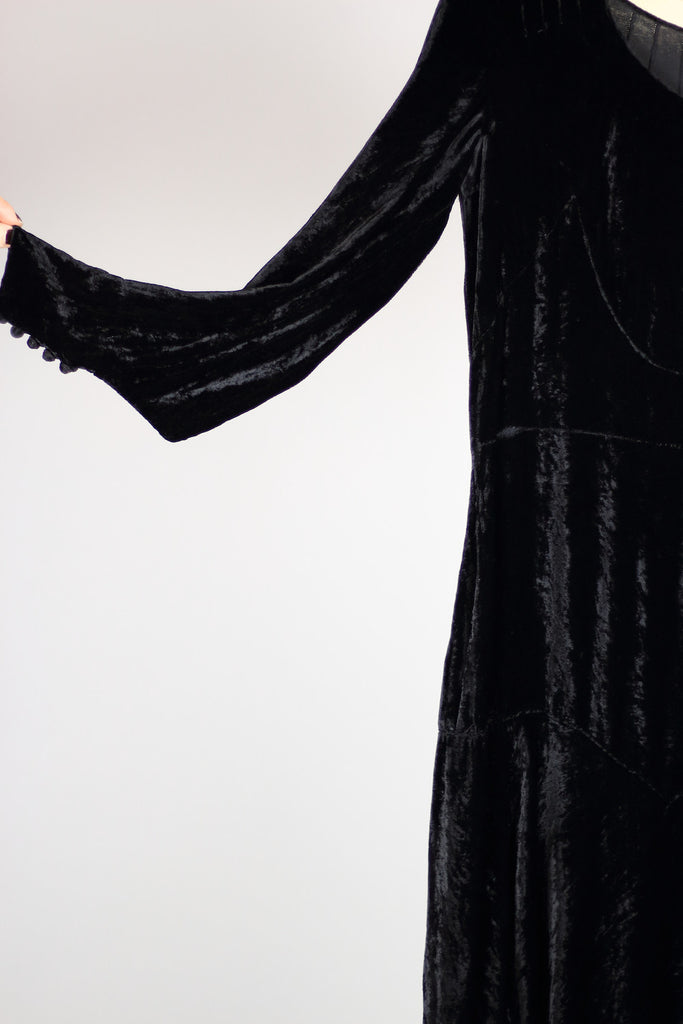 1920s 1930s Black Silk Velvet Gown