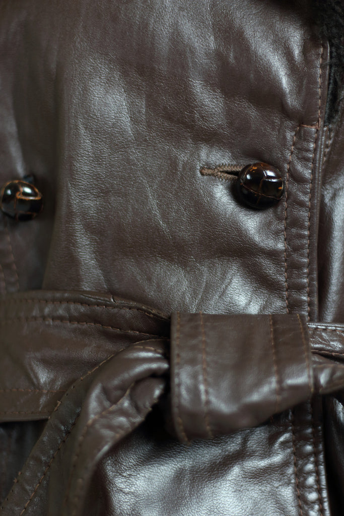 1960s Brown Leather Moto Jacket with Fur Collar