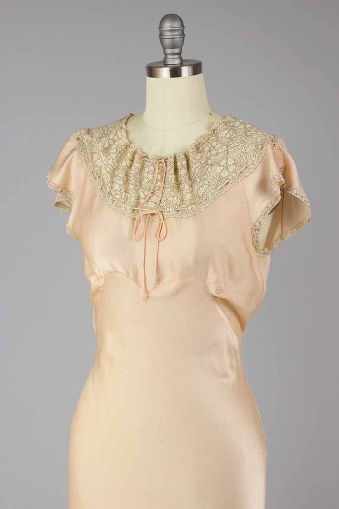 1930s French Silk Charmeuse Night Gown Rare Lingerie