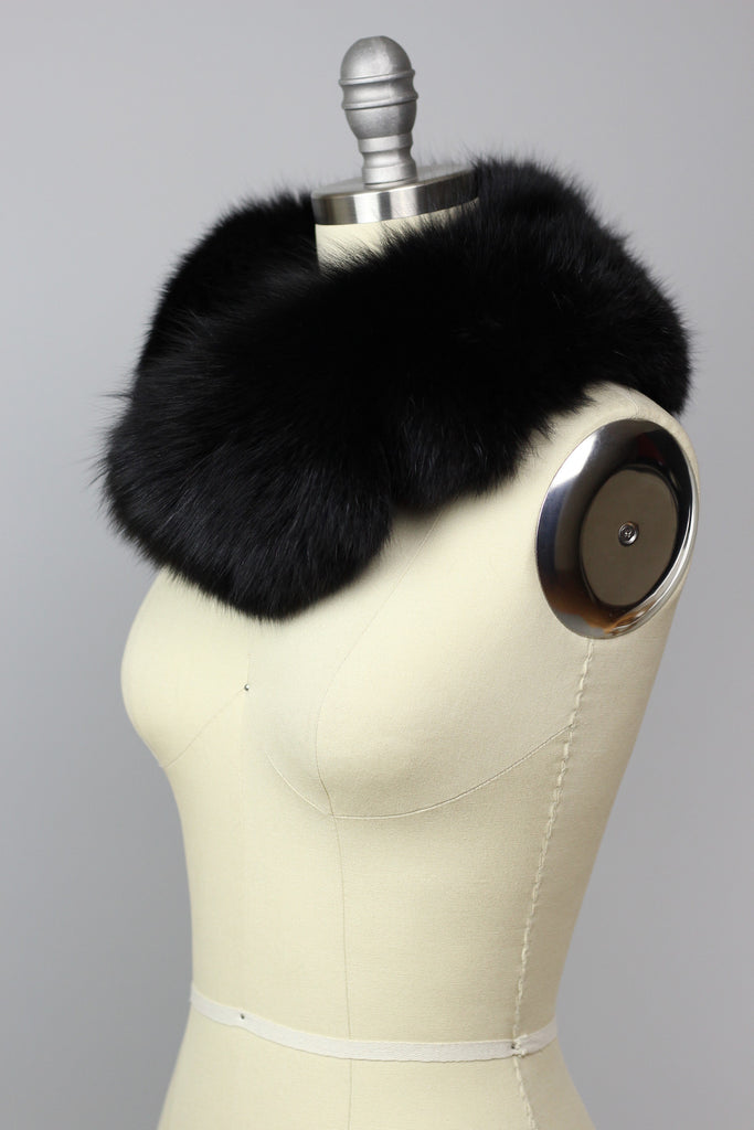 Perfect Vintage Black Fox Fur Collar Wrap