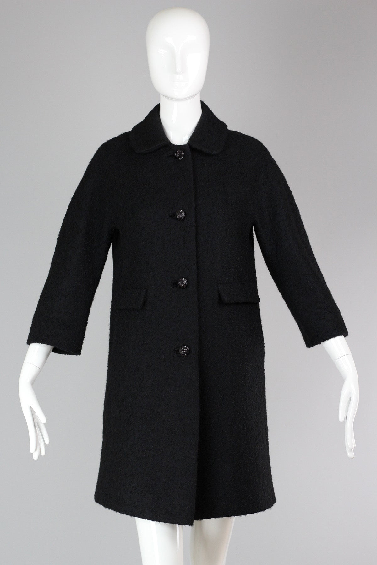 b5c00eaf5f3 Vintage 1950s-60s Black Boucle Car Coat with 3 4 Sleeves – The ...