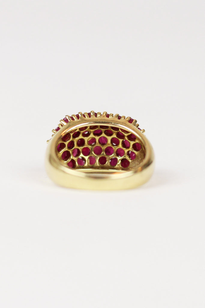 Estate 14K Yellow Gold Ruby Cocktail Ring with 34 Rubies