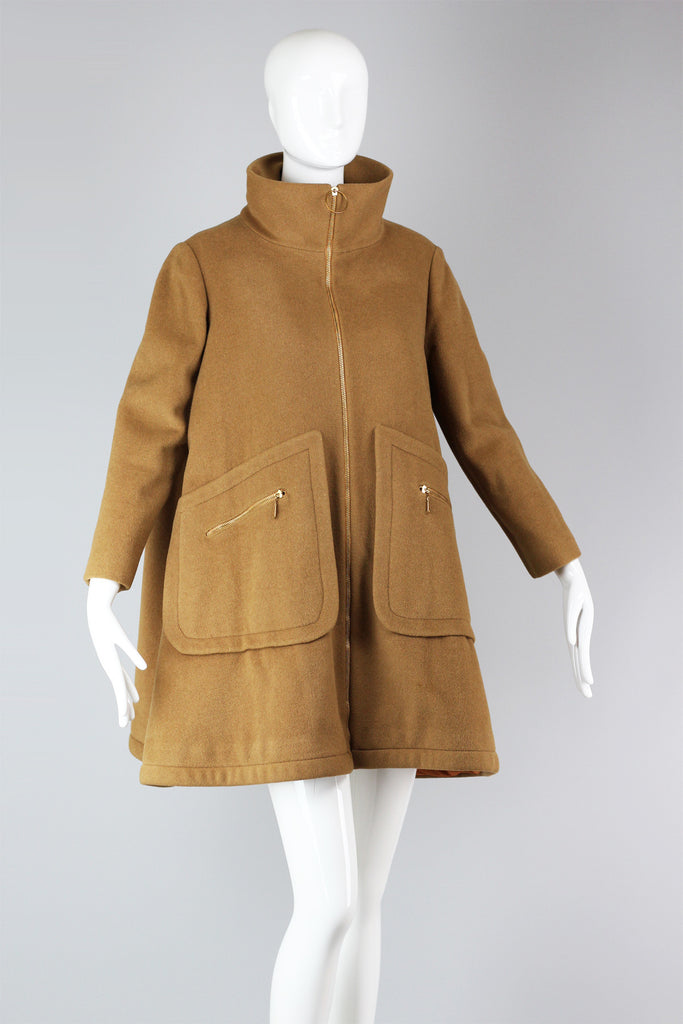 Fantastic 1960s Camel Wool A-Line Coat with Mock Neck