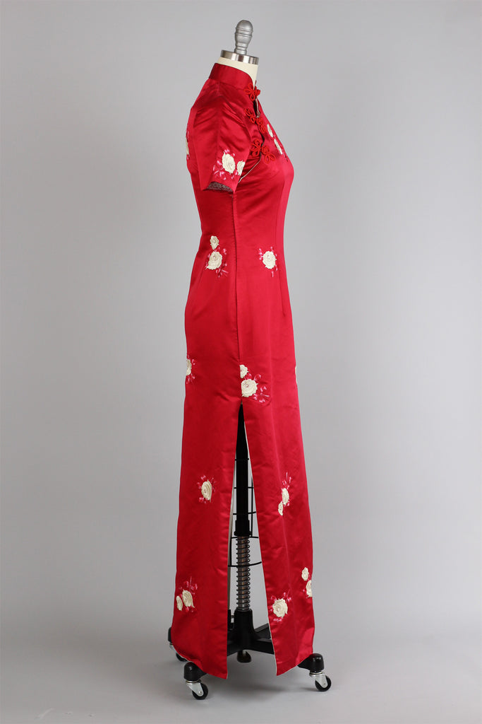 Rare 1960s Vintage Red Satin Full Length Cheongsam with Embroidered Roses