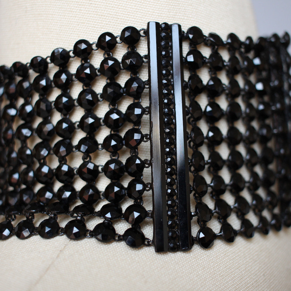 Vintage Black Glass Beaded Chainmail Choker