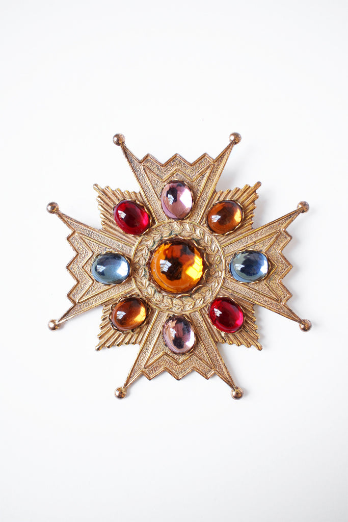 Rare Miriam Haskell Maltese Cross Jeweled Brooch Signed