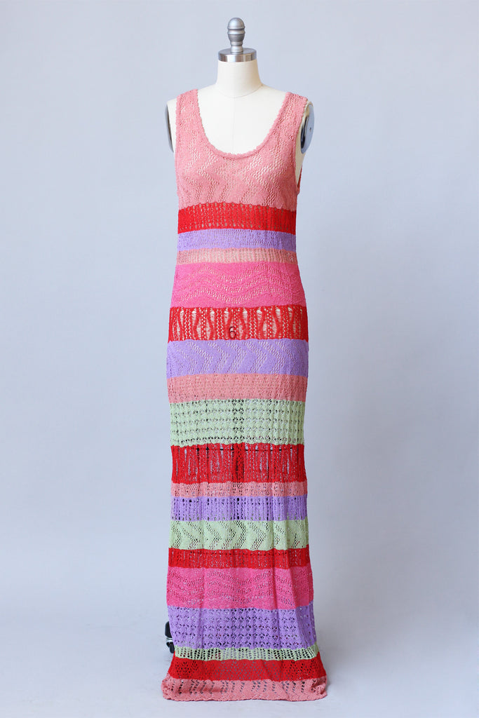 Rare Vintage 1990s Missoni Striped Knit Maxi Dress