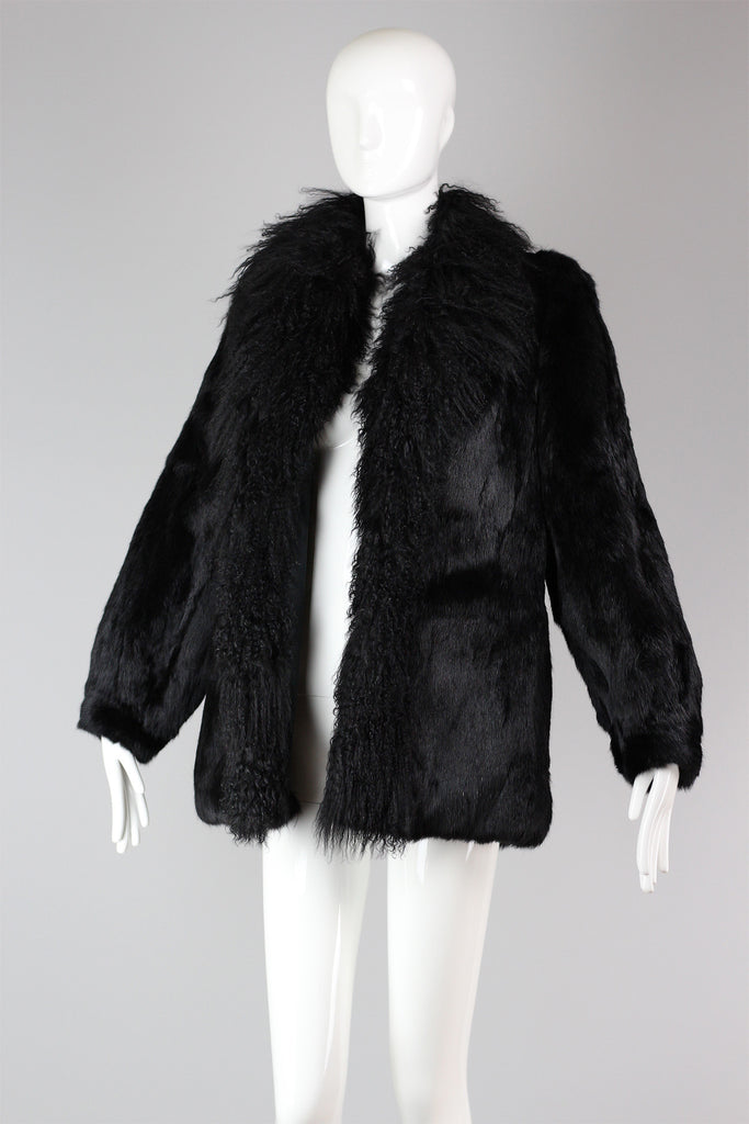 Amazing Oversized Vintage Black Shaggy Fur Coat Mongolian Lamb & Rabbit Fur