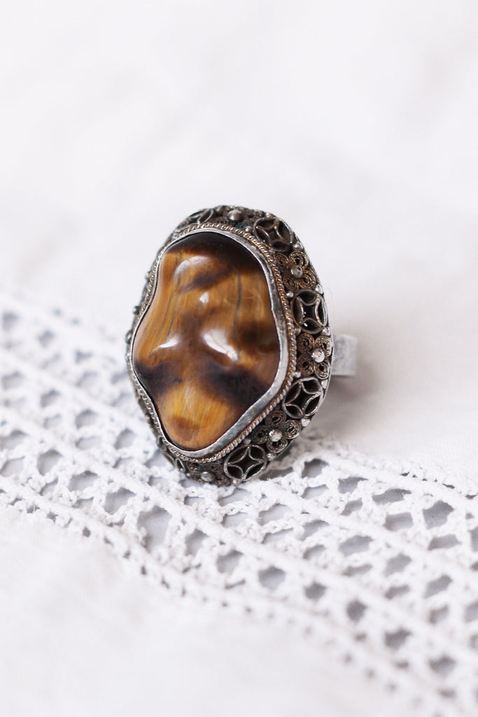 Vintage Tiger's Eye Filigree Ring