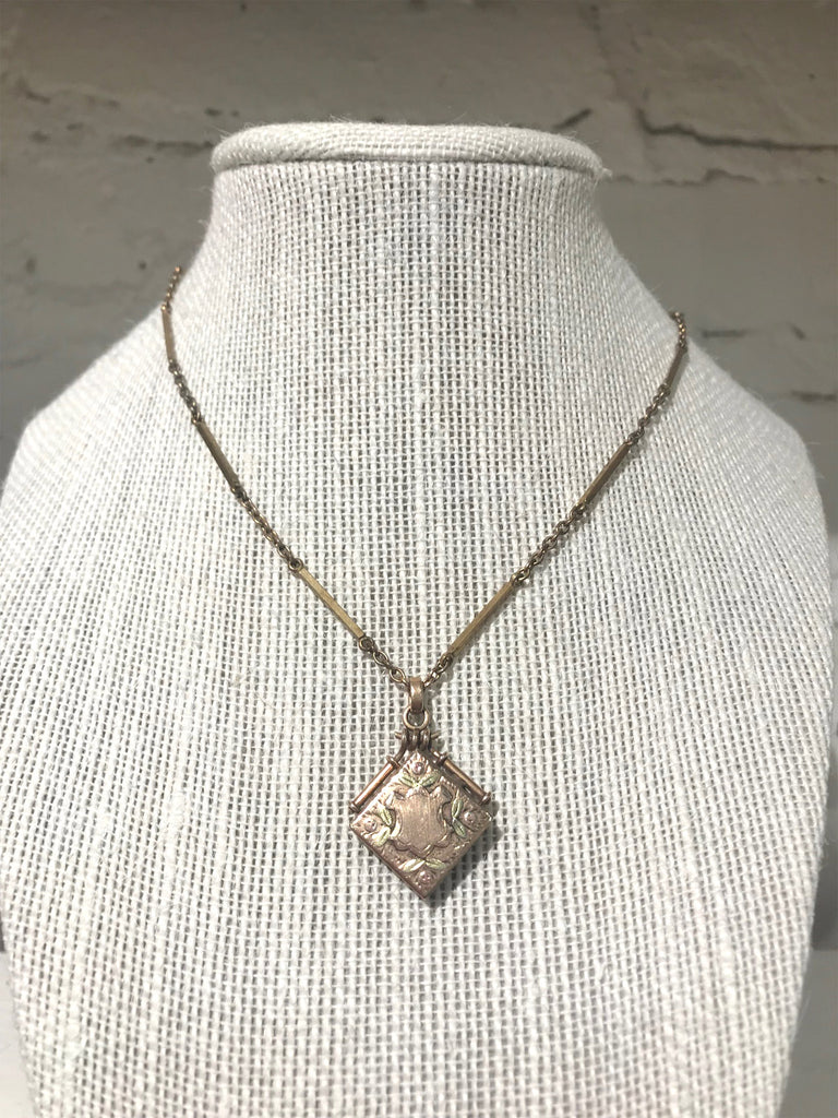 Antique Victorian 10k Rose Gold Locket Necklace