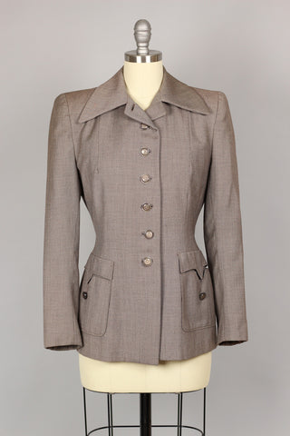 1940s Authentic Edith Head Chic Tailored Jacket