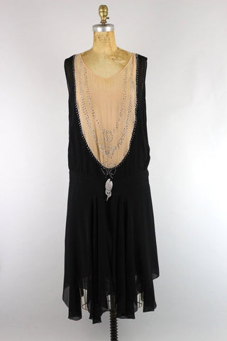 Stunning Original 1920s Silk Chiffon Flapper Dress with Bow Rhinestone Detail