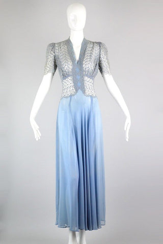 1930s Light Blue Organza dress with Floral Embroidery
