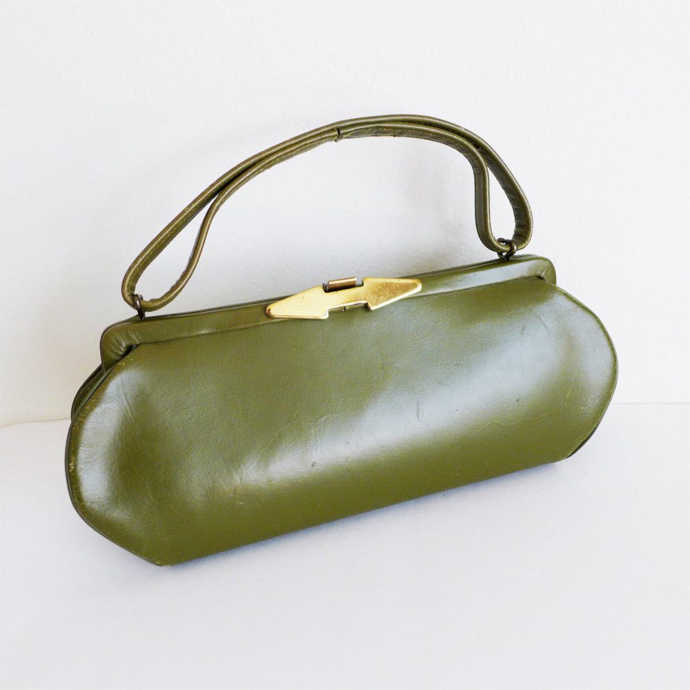 RARE Vintage 50s 60s Olive Green Leather Handbag with Gold Arrow Hardware | Pinup Mod Mid Century Modern Mad Men