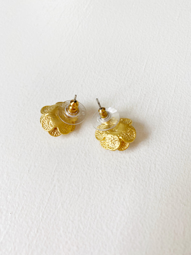 Gold Pearl Flower Studs