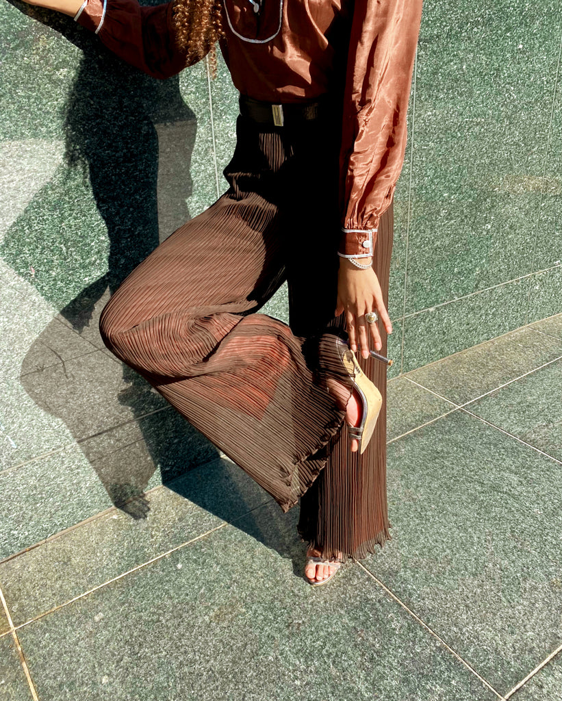 Vintage Anthony Muto Brown Micro Pleat Pants