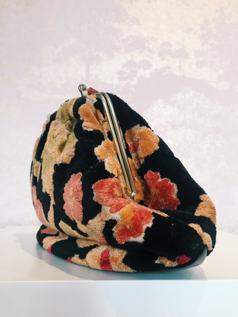 Vintage Floral Carpet Bag with Lucite Handle