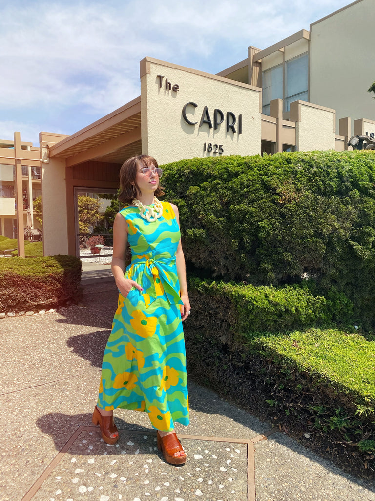 1960s Marimekko Inspired Bold Floral Maxi Dress