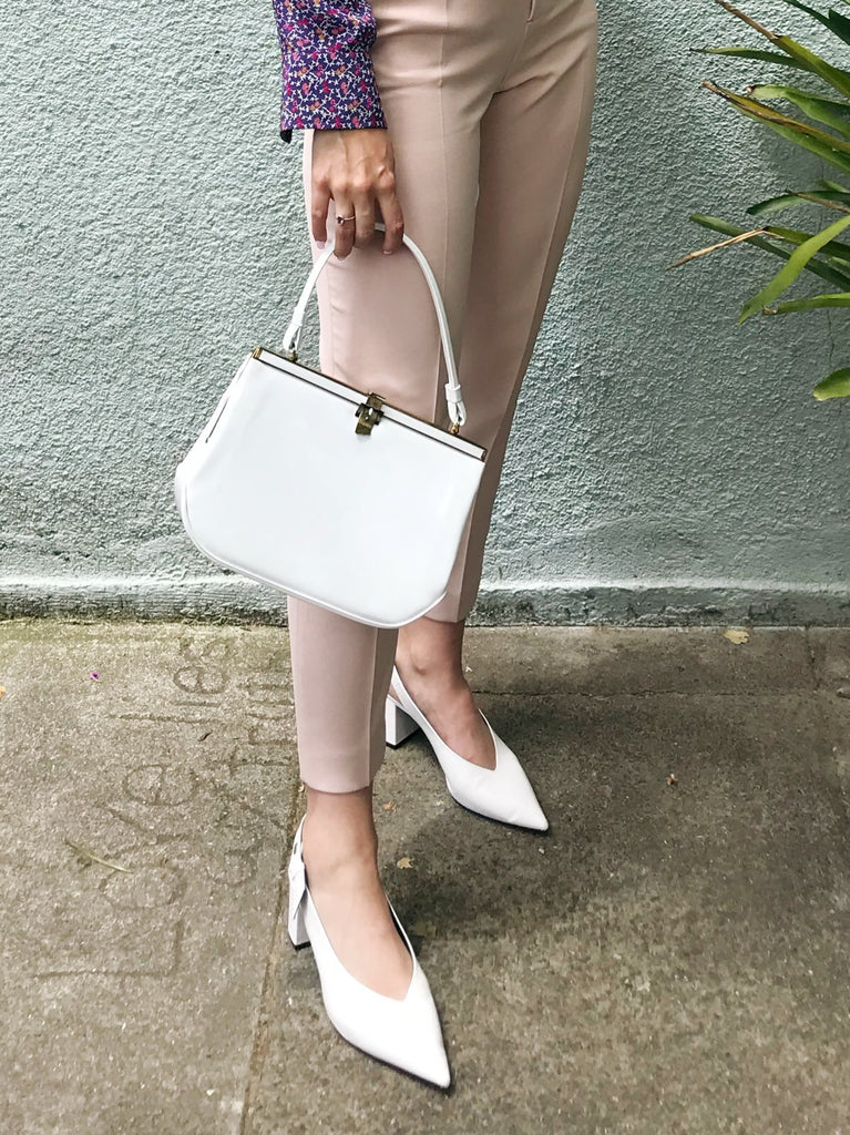 Vintage White Patent Leather Bag with Belt Clasp