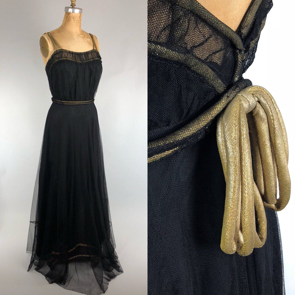 Incredible 1930s Black Tulle & Gold Lamé Gown