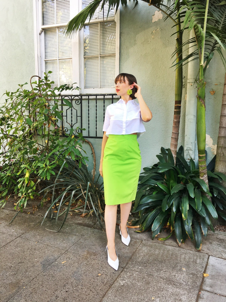 Vintage Ungaro Lime Pencil Skirt