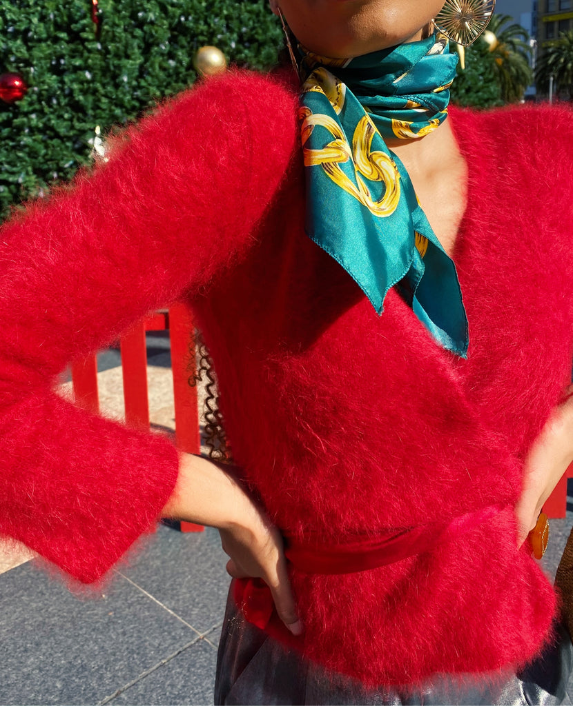 Vintage Angora Red Sweater Wrap Top