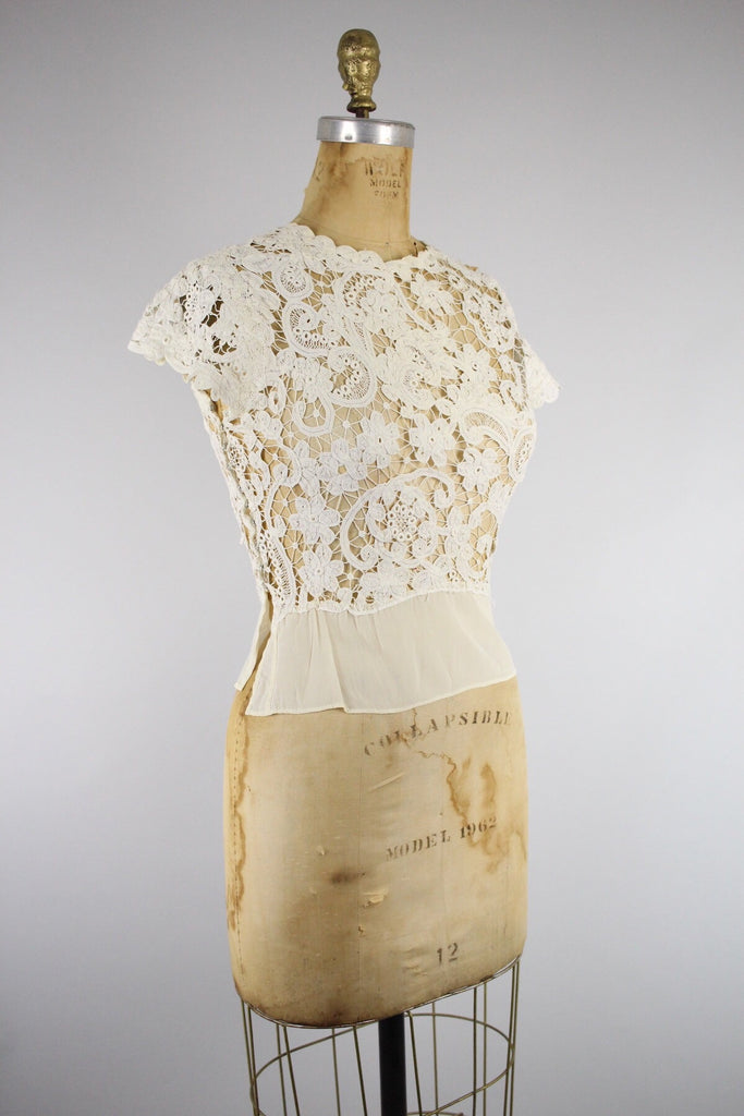 Gorgeous Antique Battenburg Lace Blouse