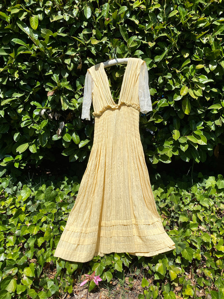 Victorian Yellow Cotton Dress