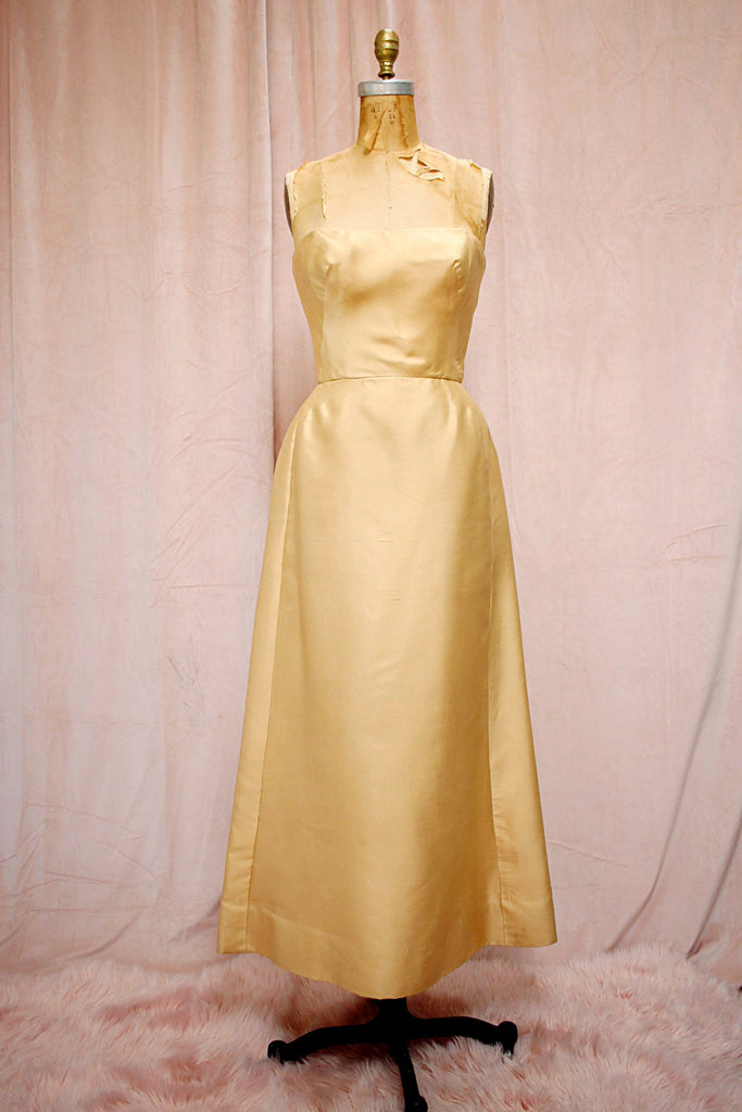 The Jackie | Vintage Gold Strapless Wedding Formal Gown