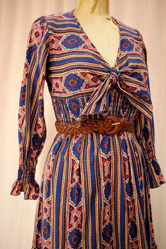 Concert Dress | 70s Handkerchief Print Smocked Dress