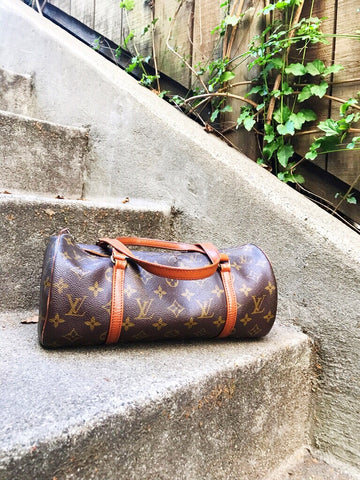 Vintage Louis Vuitton Papillon Monogram Bag with Sunglass Case