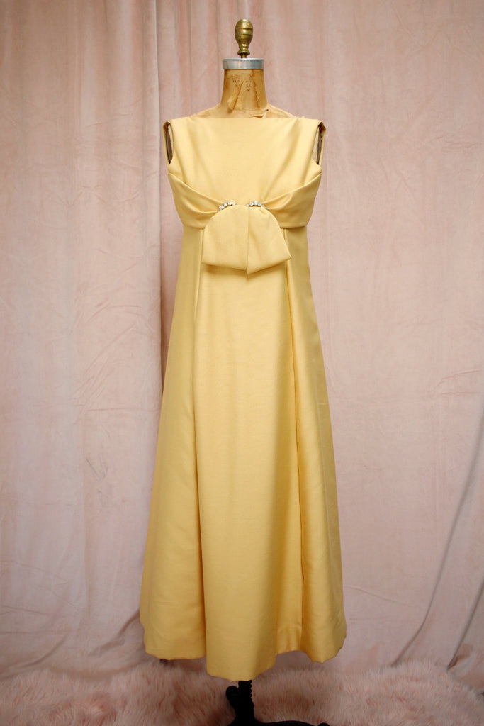 The Audrey | Vintage 1960s Butterscotch Cream Empire Waist Jeweled Gown