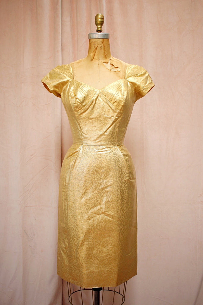 The Jayne | Vintage Gold Lamé Party Dress