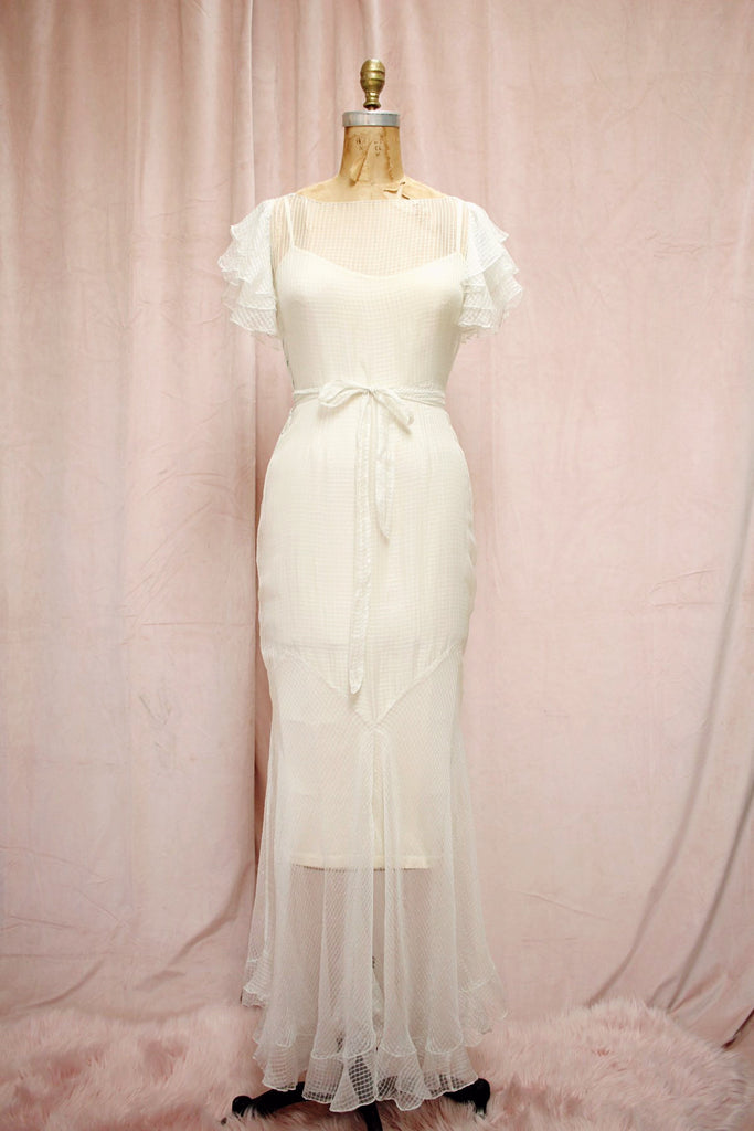 The Harlow | Vintage 1930s Fairy Silk Sheer Wedding Gown Fishtail Hem