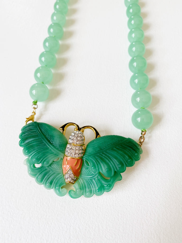 Jade Moth Necklace