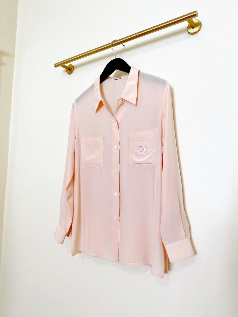Chanel Silk Blouse - Blush Pink