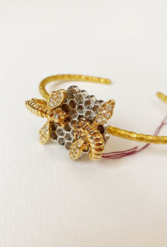Bees On Honeycomb Cuff