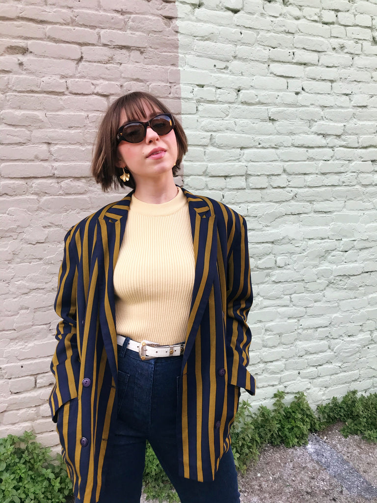 Vintage Paris Silk Striped Boyfriend Blazer