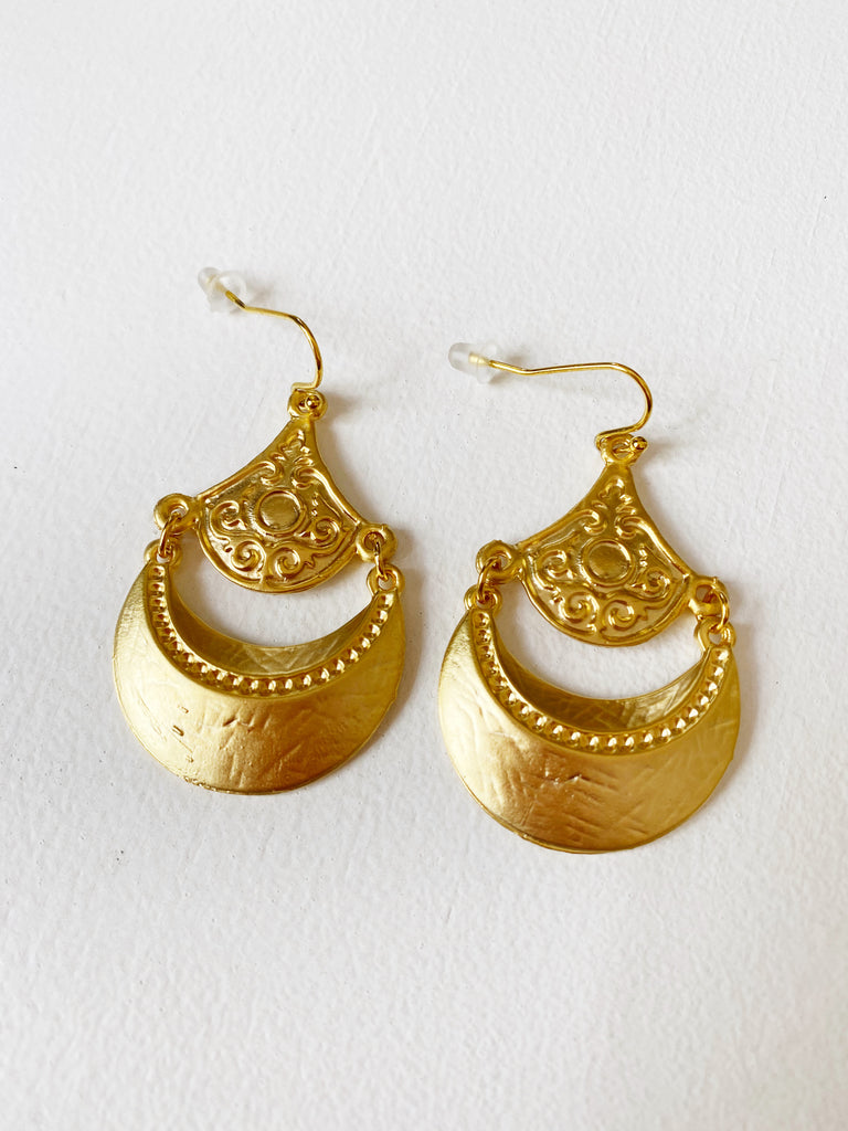 Gold Antique Mogul Earrings