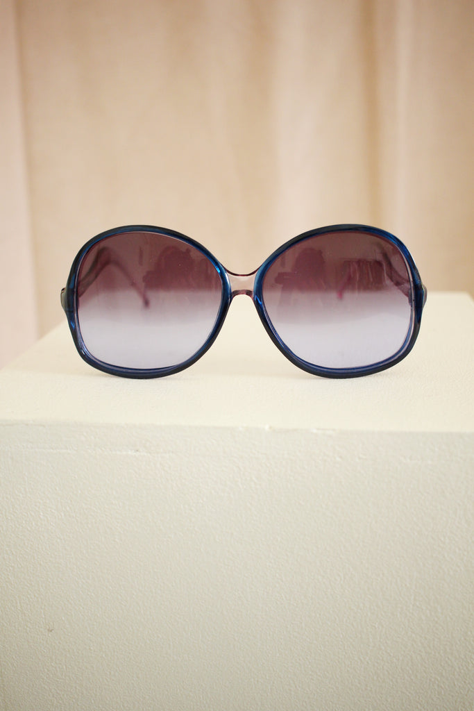70s Sunglasses - Purple with Blue Frame