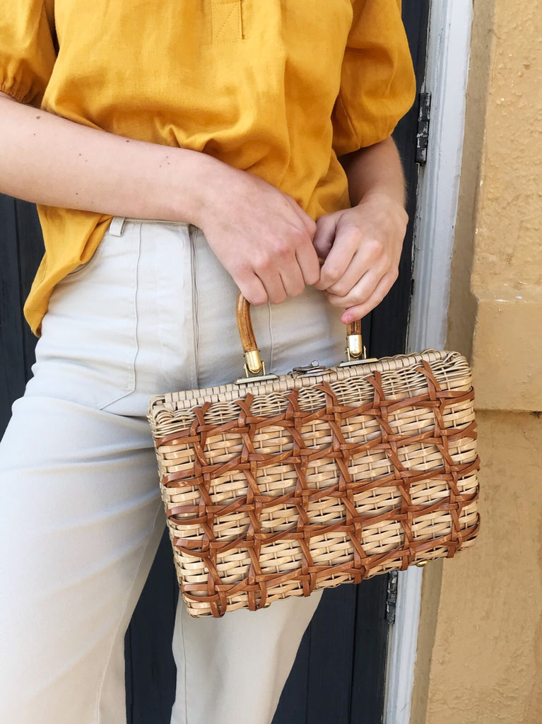 Vintage 50s Woven Box Purse with Bamboo Handle
