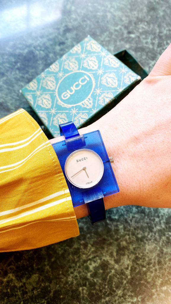 Vintage 1970s Gucci Blue Lucite Watch
