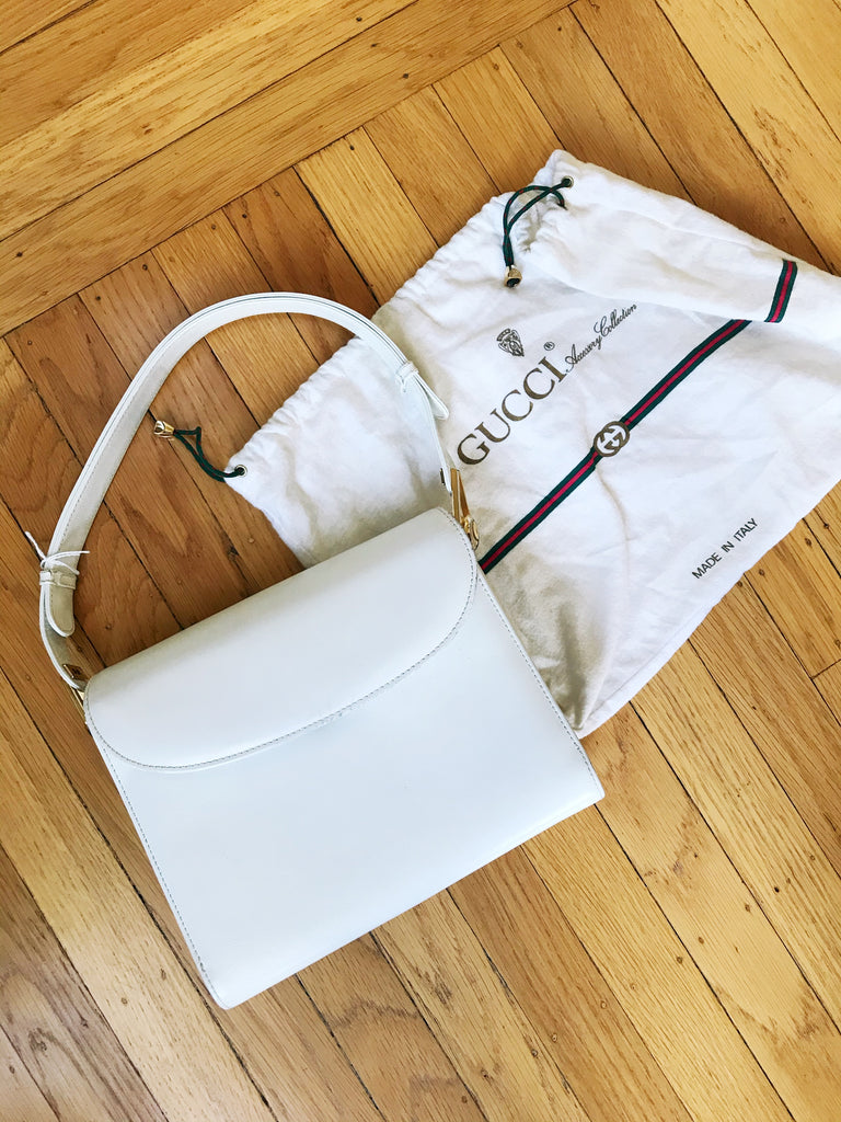 Vintage 1970s Gucci White Leather Bag