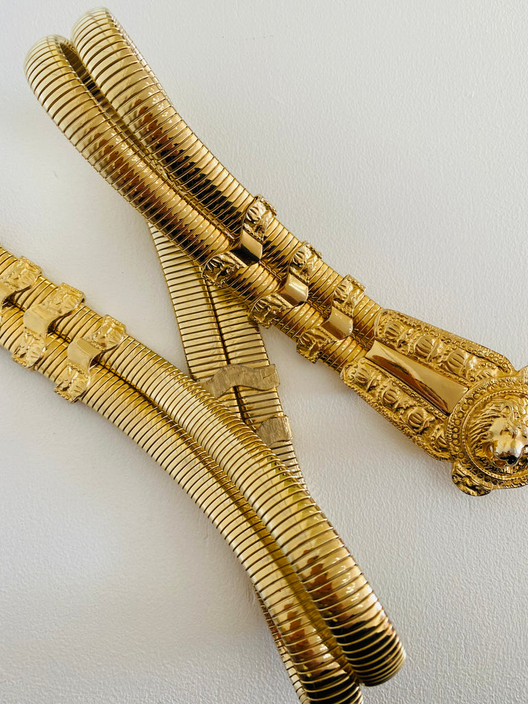 Judith Leiber Gold Stretch Metal Lion Belt