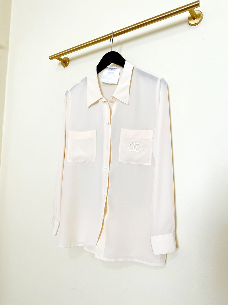 Vintage Chanel Silk Blouse - Cream