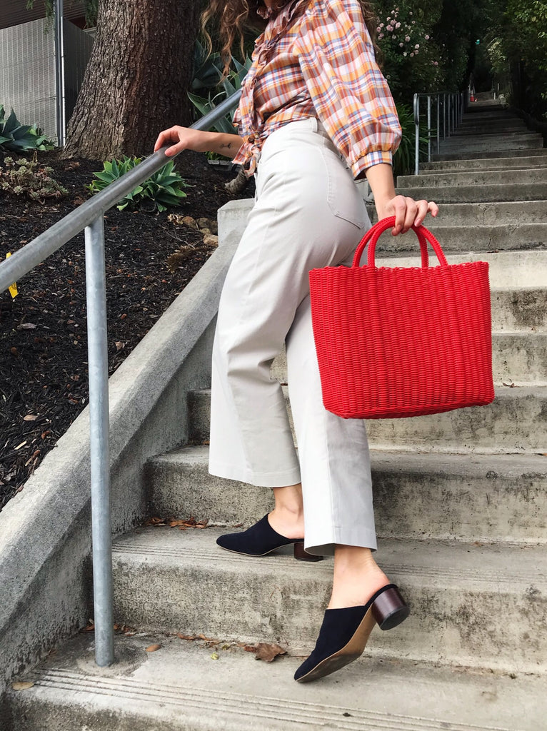Vintage Red Woven Tote
