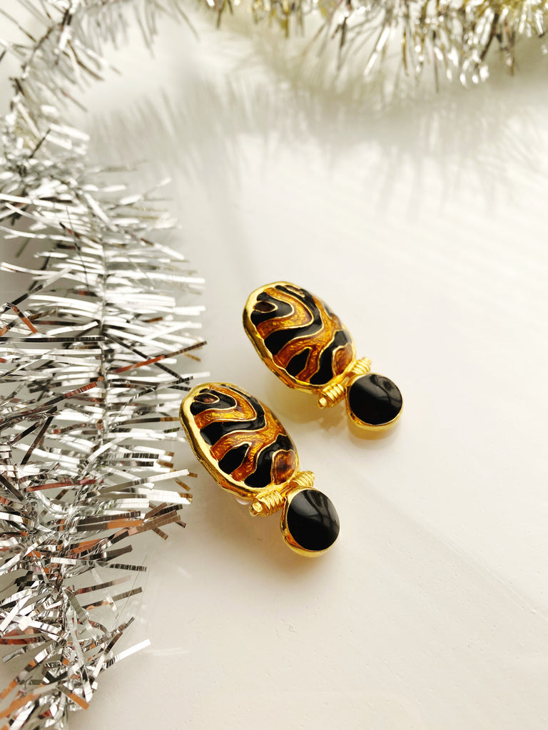Enamel Leopard Print Earrings