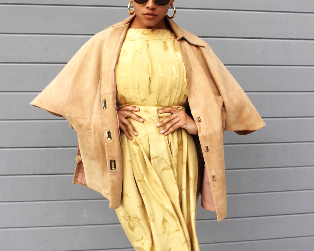 Vintage Tan Suede Cape